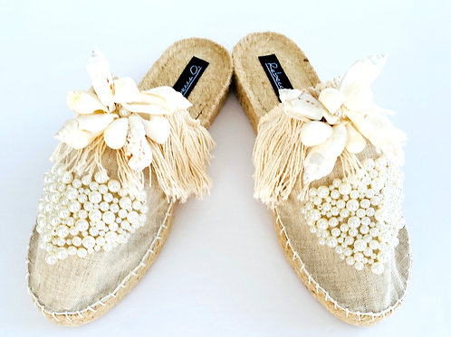 Linen Seashell Beach Sandals