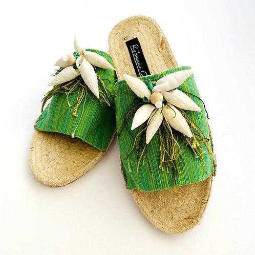 Tropical Fringe Seashell Sandal Slides