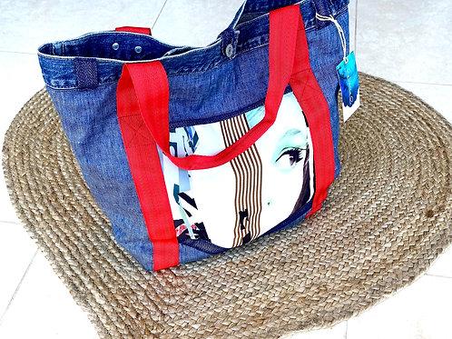 Blue Denim Shoulder Handbag