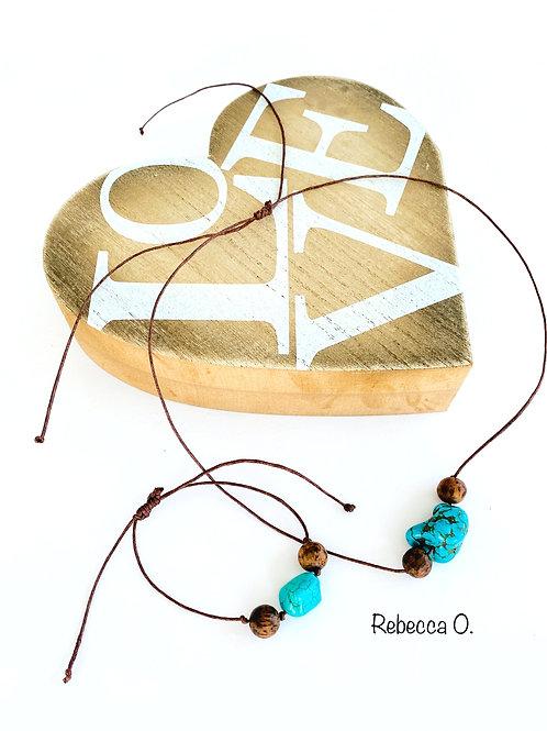 Dark Wood and Turquoise Jewelry  Set