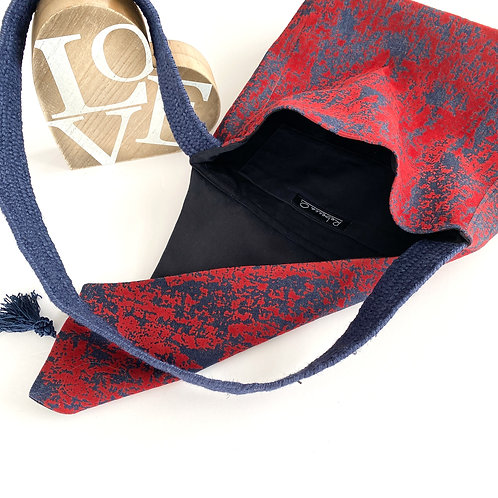 Blue & Red Square Denim Handbag