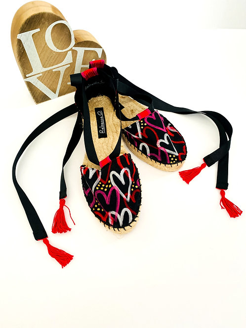Graffiti Heart Espadrilles with Ankle Ties