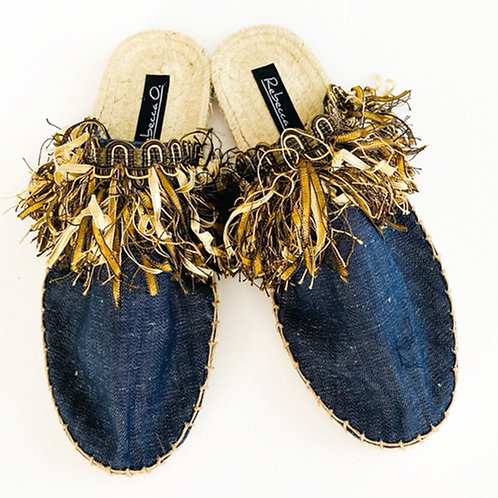 Blue Denim Fringe Sandals