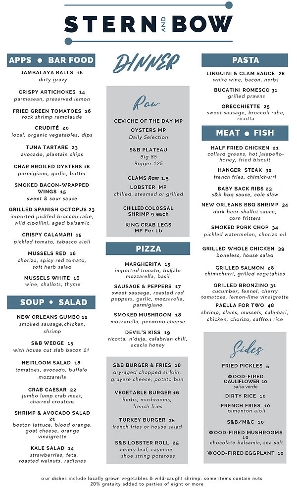 Menu - Dinner - Stern and Bow - 07-16-20