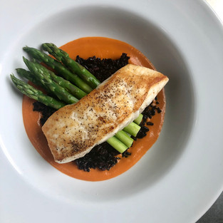 Halibut over black forbidden rice - 76 H