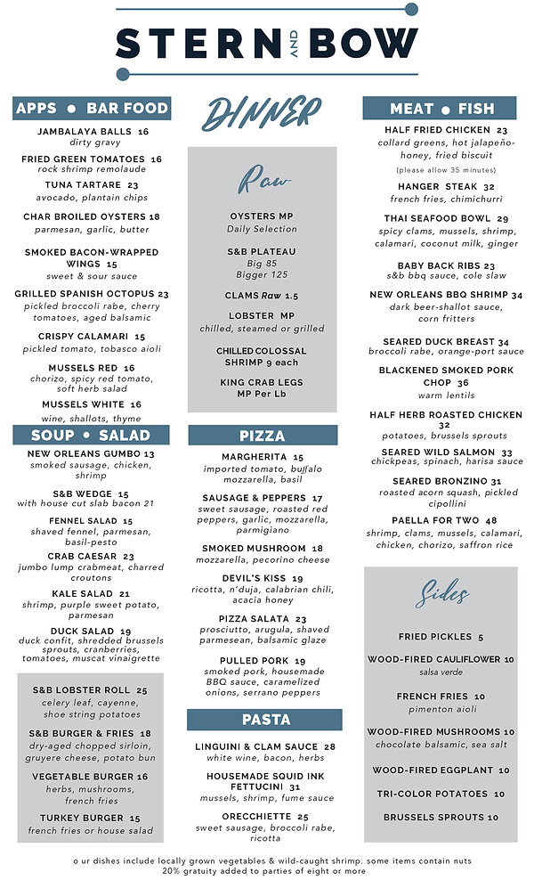 Menu - Dinner - Stern and Bow - 02-10-21