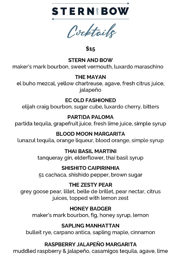 Menu - Cocktails - Stern & Bow - 01-29-2
