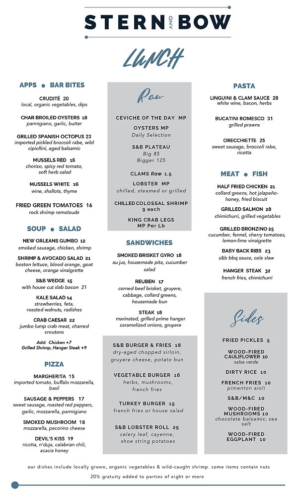 Menu - Lunch - Stern and Bow - 07-14-20.