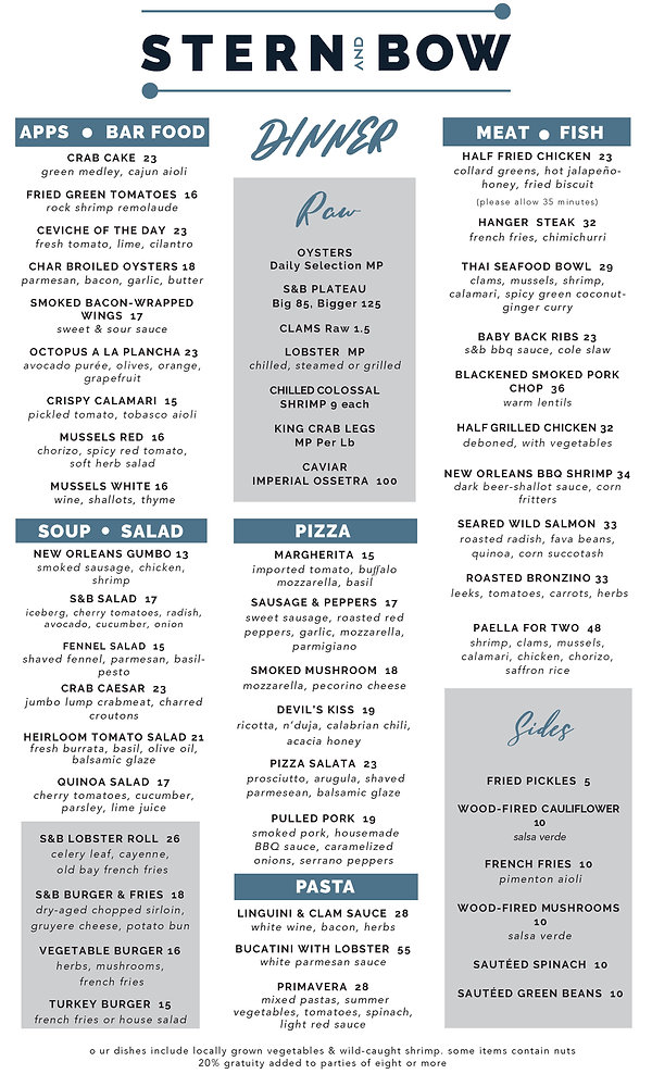 Menu - Dinner - Stern and Bow - 04-24-21