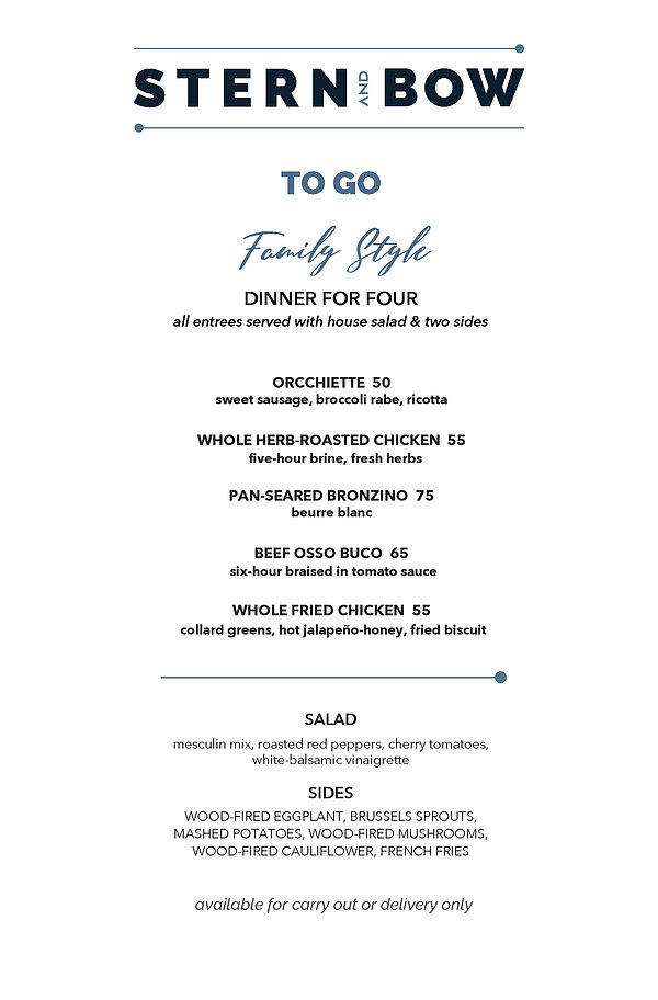 Menu - Family Style To Go - Stern and Bo