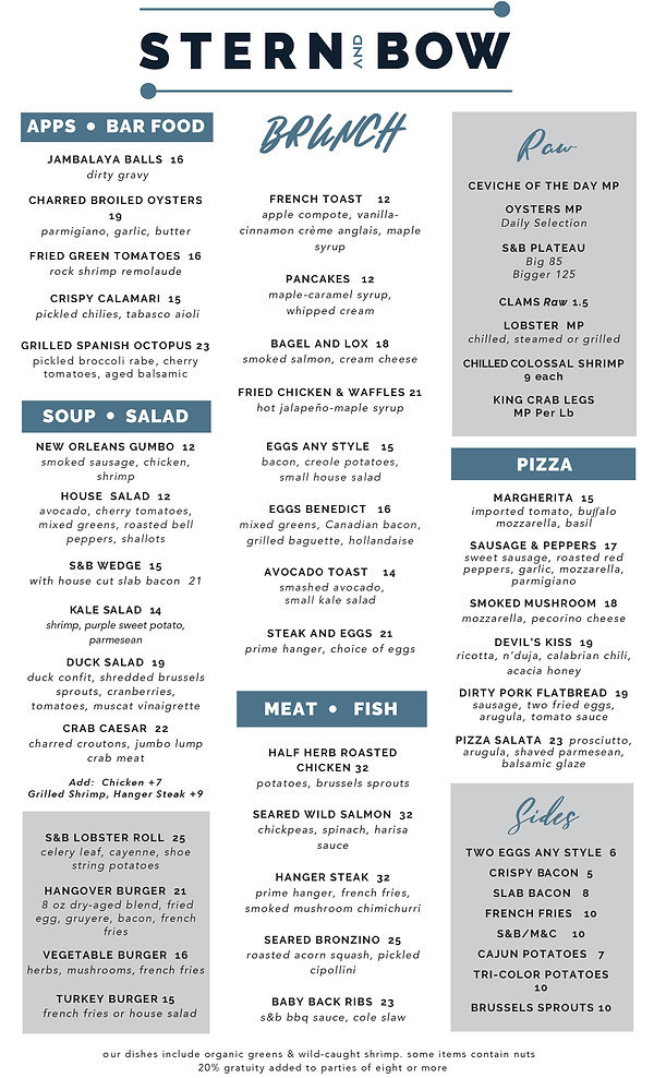 Menu - Brunch - Stern and Bow - 09-23-20