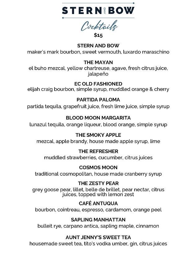 Menu - Cocktails - Stern & Bow - 10-22-2