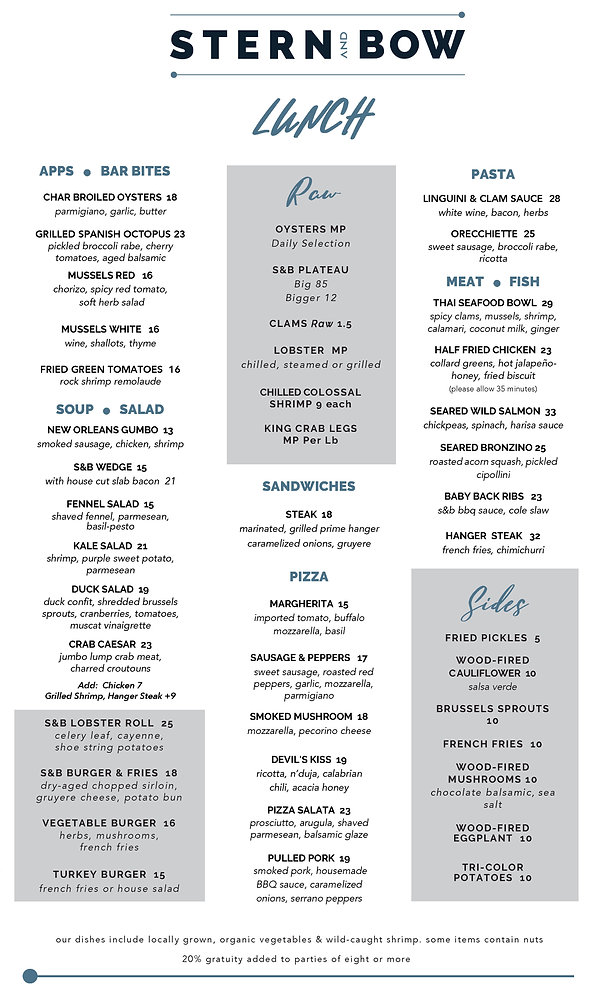 Menu - Lunch - Stern and Bow - 02-10-21.