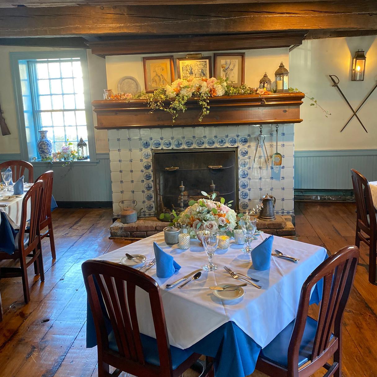 Rehersal Dinner Flowers Table & Mantle -