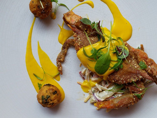 Soft Shell Crab with Yellow Pepper Aioli