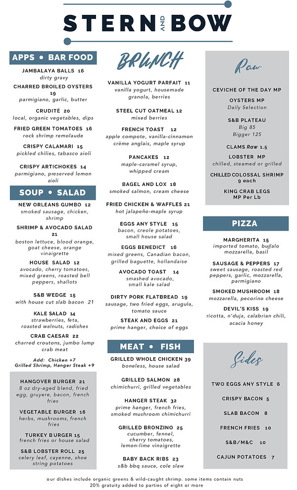 Menu - Brunch - Stern and Bow - 07-31-20
