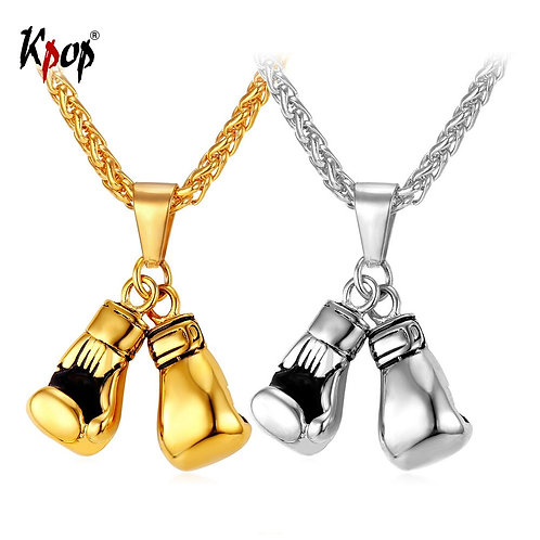 Kpop Necklace Men Sport Jewelry Boxer Gift Stainless Steel Gold Color Boxing Glo