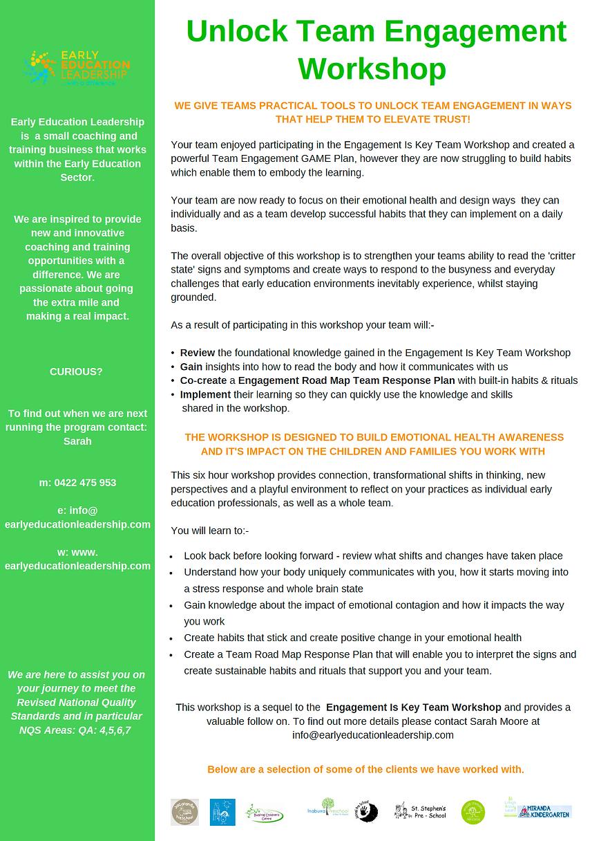 Unlock Team Engagement Workshop Brochure