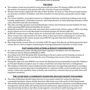 WOMEN'S PRE-RELEASE FACT SHEET