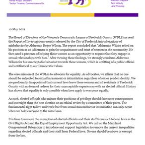 WDL Statement - Report of Investigation re: Alderman Roger Wilson - 05.10.2021