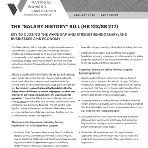 "THE ""SALARY HISTORY"" BILL (HB 123/SB 217)"