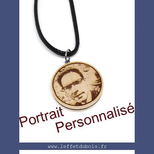 Collier - Pendentif personnalisé photo portrait gravée + prénom date Ref PEN0172