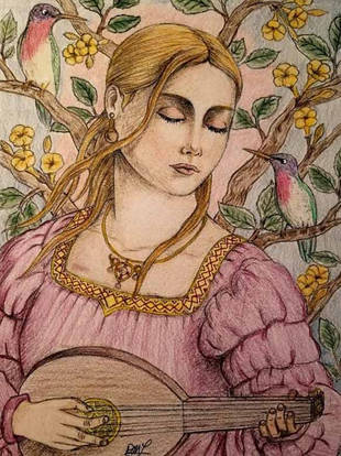 Lady Playing the Lute - Deborah McLaughl