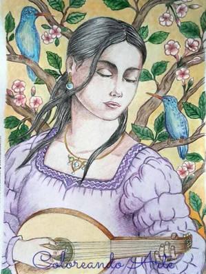 Lady Playing the Lute - Patricia Minski.