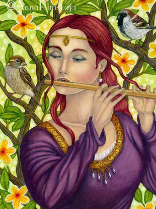 Lady Playing the Flute - Anna Rimskaja.j