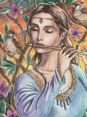 Lady Playing the Flute - Maribel Sanchez