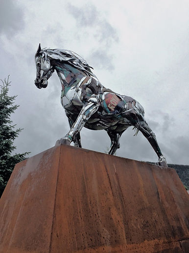 Chrome Horse in Crested Butte - by artist Sean Guerrero