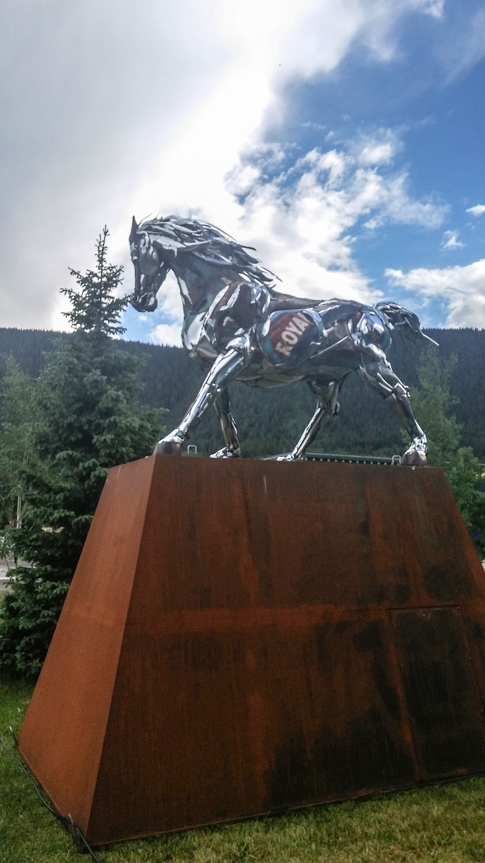 Reclaimed Chrome Horse Sculpture