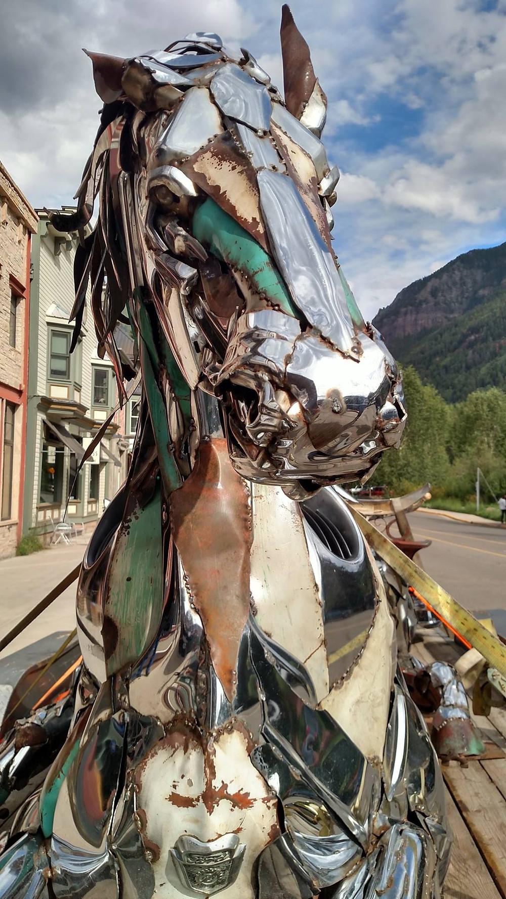 Chrome Horse Sculpture in Telluride