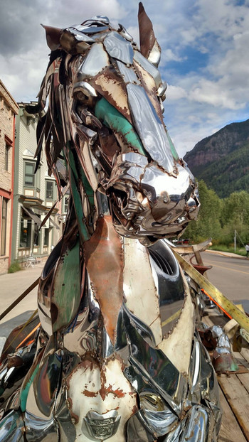 Chrome Horse Sculpture in Telluride