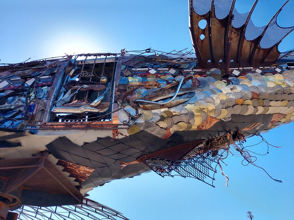 Da Vinci Fish Sculpture in Bombay Beach Biennale
