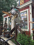 Chrome Sculptures in Crested Butte - by artist Sean Guerrero at Mabuhay in Crested Butte