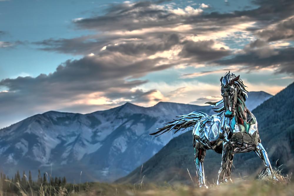 Chrome Horse Sculpture