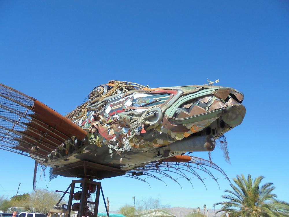 Da Vinci Fish Sculpture in Bombay Beach Biennale - The Head