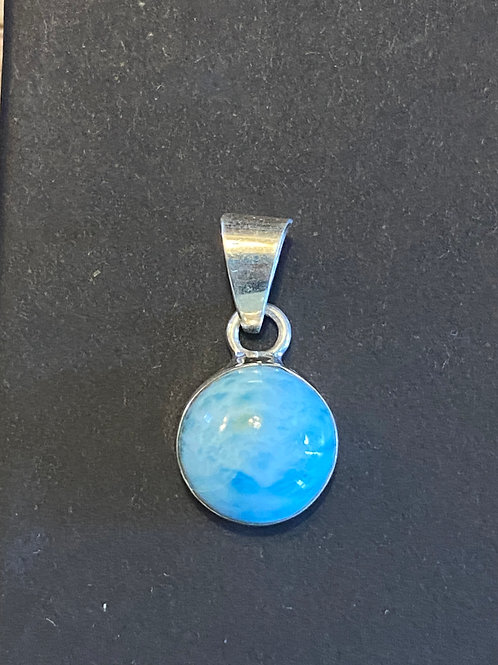 A-D: Larimar 1/2 Circle Pendant.  2cmx1cmx.5cm.3 grams