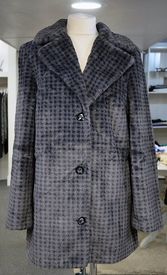 K-Design Grey Check Faux Fur Coat