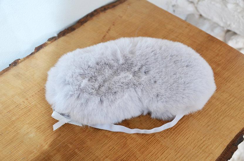 Lemon Collection Faux Fur Grey Sleep Mask