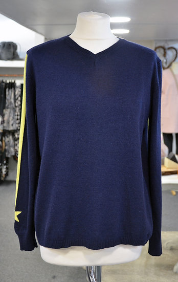 Luella Cashmere Navy Jumper with Yellow Star
