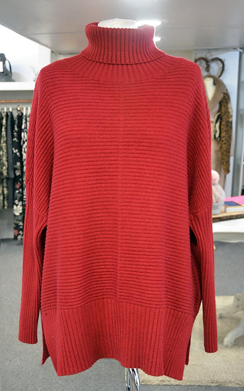 Ribbed Roll Neck Longer Line Jumper  - 3 Colours Available
