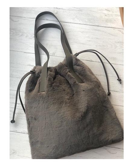 Rino & Pelle Grey Faux Fur Bag