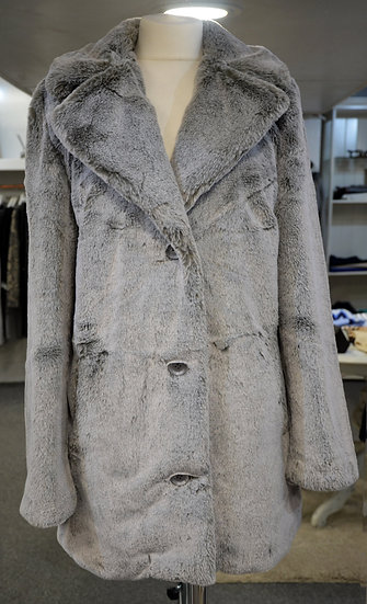 K-Design Silver/Grey Faux Fur Coat
