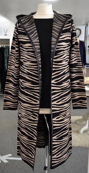 Rino & Pelle Brown Zebra PrintFauxLeather Trim Hooded Cardigan