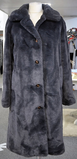 Rino & Pelle Long Grey Faux Fur Coat