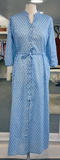 Dream Blue & White Leaf Pattern Shirt Dress