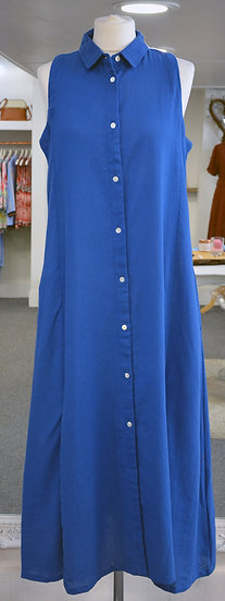 Dream Blue Sleeveless Collared Shirt Dress