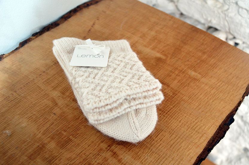 Lemon Collection Cream Braided Ankle Socks